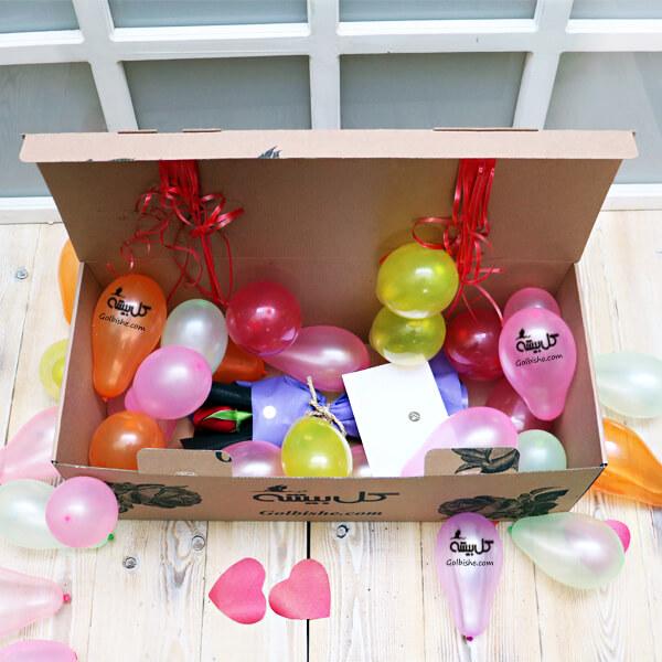 جعبه سورپرایز ، گل و بادکنک ، گل سورپرایز ، سفارش گل ارزان ، گل نوزاد ، هدیه نوزاد ، بادکنک تولد ، سورپرایز تولد ، کادو بادکنک